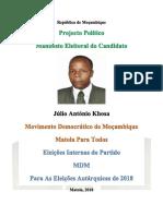 Manifesto Eleitoral do Candidato Julio Khosa, 2018