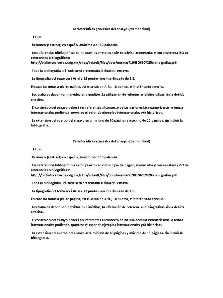 Características Generales Del Ensayo
