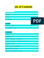 Table of Contents Math k1