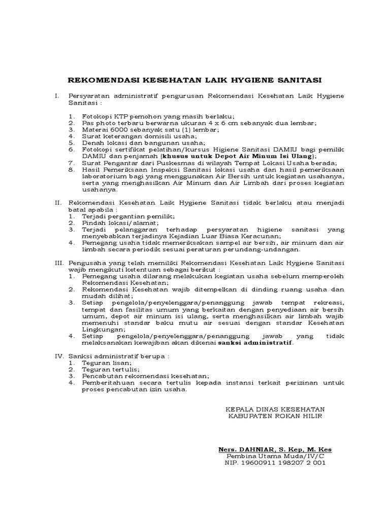 Contoh Surat Izin Usaha Depot Air Minum Kumpulan Surat Penting