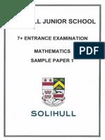 7+ Maths Sample Paper 1