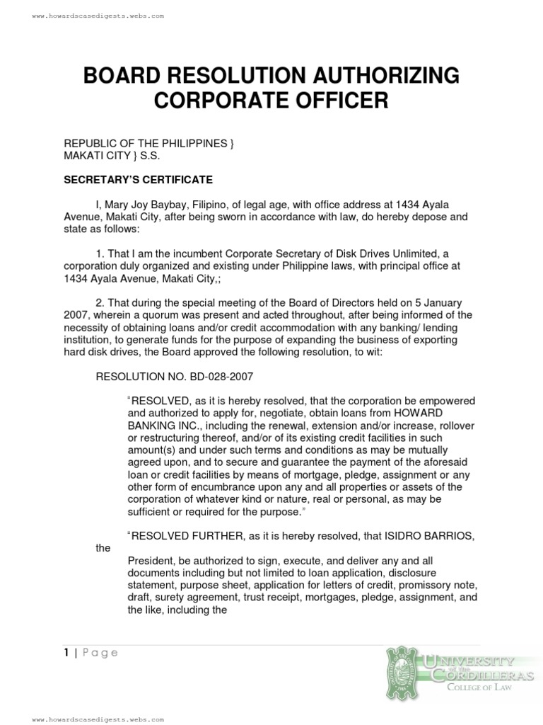 Corporate secretary certificate template images templates board resolution authorizing corporate officer loans credit board resolution authorizing corporate officer loans credit finance alramifo yelopaper Choice Image