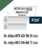 Dokter Jaga Siang Perawatan September 2018
