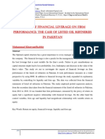 Impact of financial leverage on firm  performance