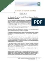 Lectura 11 - Educación Formal, No Formal e Informal - Espacios Educativos Escolares y No Escolares
