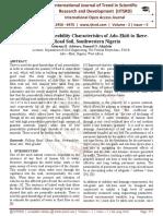 Assessment of Permeability Characteristics of Ado-Ekiti to Ikere-Ekiti Road Soil, Southwestern Nigeria