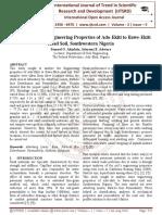 Analyses of Some Engineering Properties of Ado-Ekiti to Ilawe-Ekiti Road Soil, Southwestern Nigeria