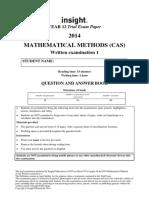 Insight 2014 Mathematical Methods Examination 1
