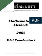 Itute 2006 Mathematical Methods Examination 1