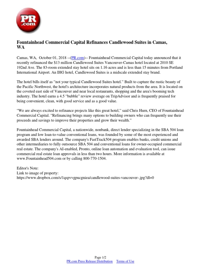 Fountainhead Commercial Capital Refinances Candlewood Suites