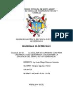 La Máquina de Corriente Contínua Operando Como Generador y Determinar La Eficiencia Del Grupo Motor-generador.