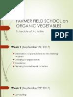 Presentation of Schedule of Activities