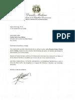Carta de condolencias del presidente Danilo Medina a Rubén Darío Cruz Ubiera, senador por la provincia Hato Mayor, por fallecimiento de su madre, Ricarda Ubiera Vilorio (doña Callita)