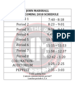 2018 homecoming schedule