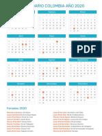 Calendario Colombia 2020