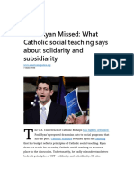 What Ryan Missed-What Catholic Social Teaching Says About Solidarity and Subsidiarity