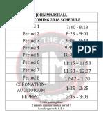 2018 homecoming schedule