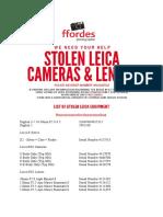 Ffordes List of Stolen Leica Equipment