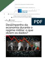 Desempenho da economia da Ditadura e dados