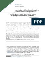 Hauke Brunkhorst - Propriedade Privada, Crítica Da Reificação e a Socialização Dos Meios de Produção