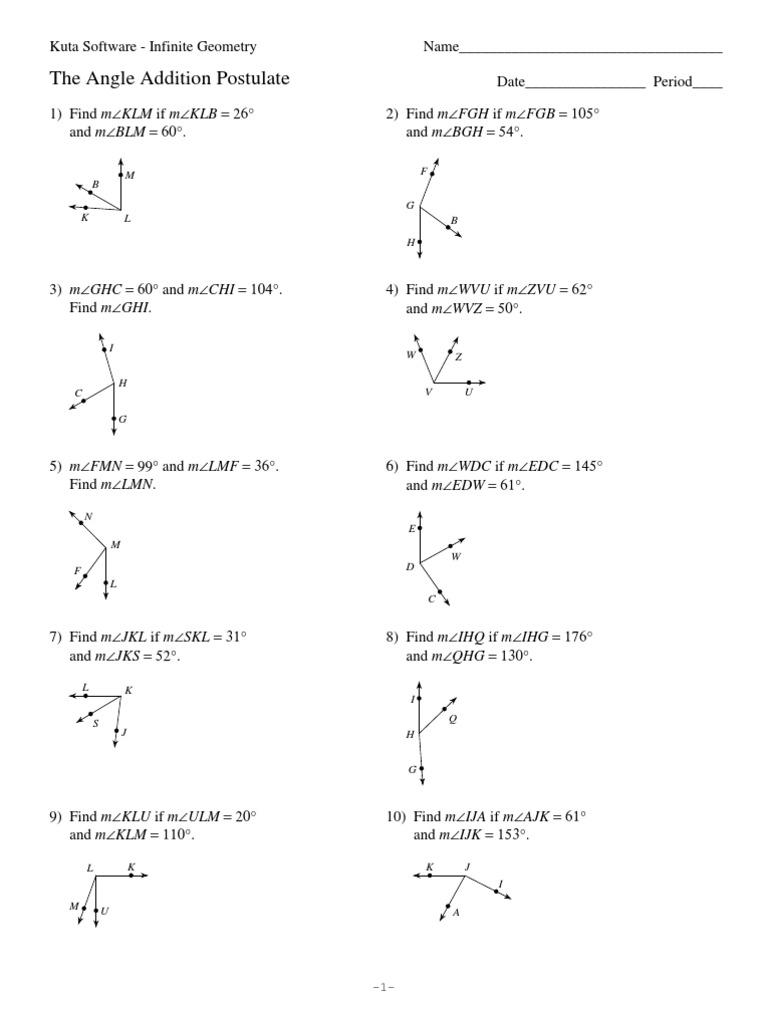 Worksheets Angle Addition Postulate Worksheet hw 6 angle addition postulate