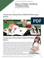 Tanda Dan Cirinya Situs Poker99 Online Yang Resmi _ Wajib Cek