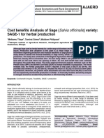 Cost benefits Analysis of Sage (Salvia officinalis) variety
