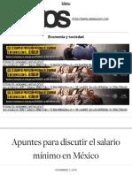 Apuntes para discutir el salario mínimo en México | Economía y sociedad