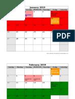 2019 Monthly Calendar API EXAM