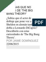 25 Cosas Que No Sabías De 'THE BIG BANG THEORY'