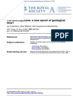 Jan Zalasiewicz and 3 Others the Anthropocene a New Epoch of Geological Time