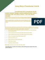 Perhitungan Biaya Pemakaian Listrik Industri