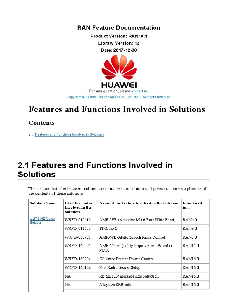 Features Huawei | High Speed Packet Access | Networks