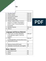 ECD Material List