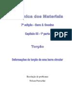 3.1 - Torção, Deformações de torção em uma barra circular, Mecânica dos materiais, Gere, 7ª edição, exercícios resolvidos.pdf