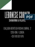 Lebanese Corner - visit card