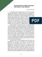 Aclaraciones Necesarias Al Señor Licenciado Andrés Manuel López Obrador
