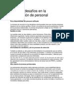 Actuales Desafíos en La Contratación de Personal