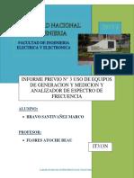 USO DE EQUIPOS DE GENERACION Y MEDICION Y ANALIZADOR DE ESPECTRO DE FRECUENCIA