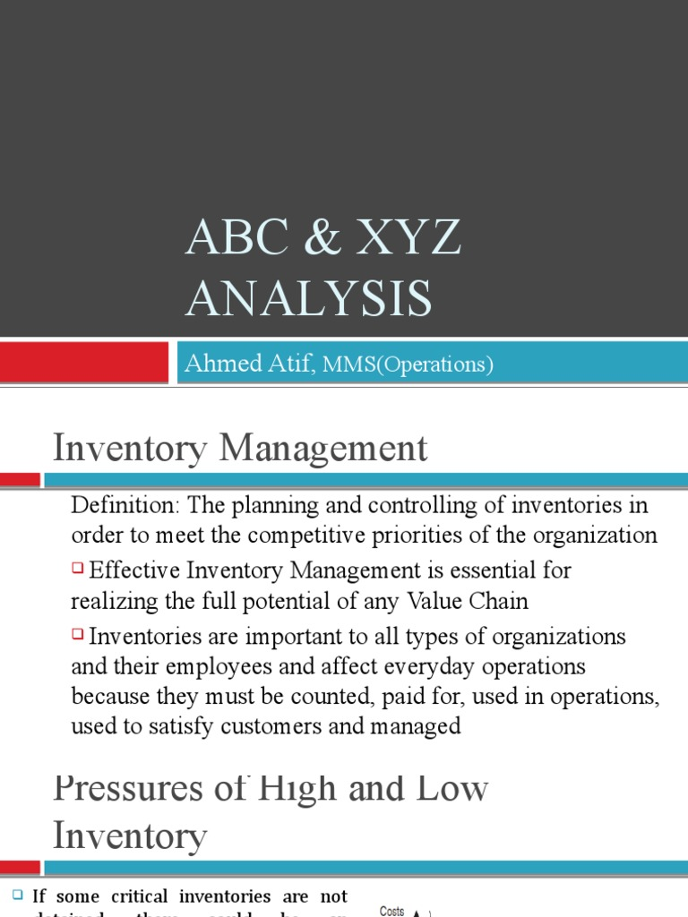abc analysis for inventory management essay The abc analysis groups inventory into three classes class a contains 80  percent of the total value of inventory class b contains 15 percent.