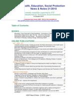 Health, Education, Social Protection News & Notes 21/2010