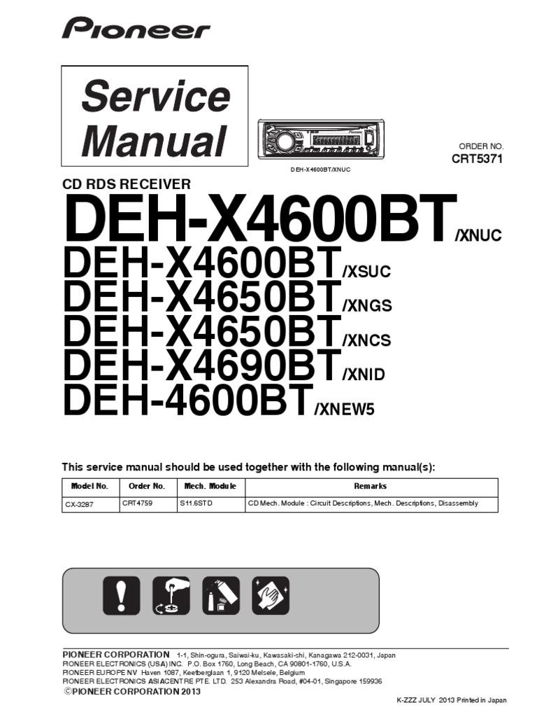 wiring diagram pioneer deh 815 pioneer deh x4600bt x4600bt x4650bt x4690bt deh 4600br crt5371  pioneer deh