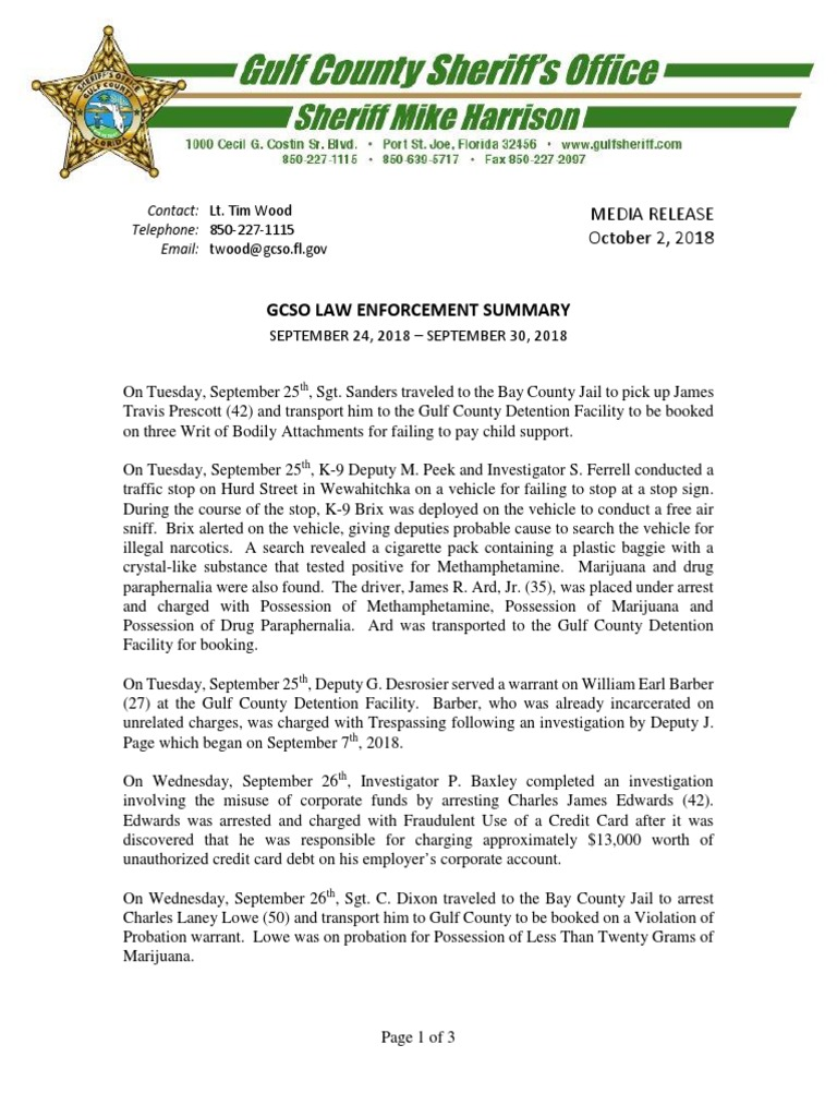 Gulf County Sheriff's Office Law Enforcement Summary