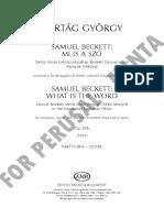 Kurtag 1990-1 - Samuel Beckett What is the Word Op 30b (Score)