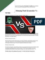 Prediksi Bola Menang Pasti Krasnodar vs Sevilla