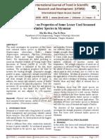 Experimental Study on Properties of Some Lesser Used Seasoned Timber Species in Myanmar