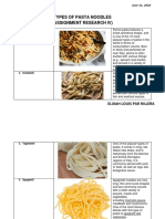 Types of Pasta Noodles Assignment Research IV