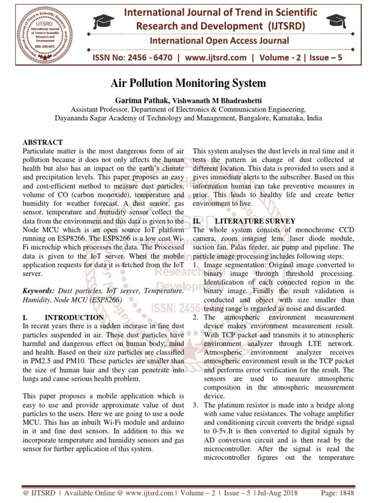 Air Pollution Monitoring System Sensor Internet Of Things Electric Current Electrocircuit Schema Datasheet