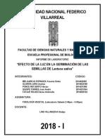 INFORME DE F. VEGETAL N°1 = EFECTO DE LA LUZ EN LA GERMINACIÓN DE SEMILLAS DE LECHUGA