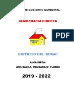 Plan de Gobierno Rímac - Democracia Directa